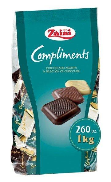 """Zaini """"Compliments"""" tumšās/piena/baltās šokolādes asorti 1 kg/260 gb."""